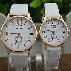 preiswerte Armbanduhren für Paare-Paar Modeuhr Kleideruhr Quartz Armbanduhren für den Alltag PU Band Analog Schwarz / Weiß / Braun - Weiß Schwarz Braun