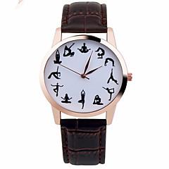 preiswerte Tolle Angebote auf Uhren-Damen Armbanduhr Chronograph Leder Band Glanz / Modisch Schwarz / Weiß / Braun