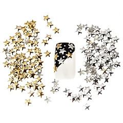 100pcs cel mai bun preț stabilit de argint 5mm si metal auriu stele prezoane de unghii manichiura decoratiuni de arta 3d