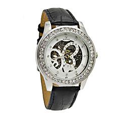 WINNER Γυναικεία μηχανικό ρολόι Μηχανικό κούρδισμα Μπάντα Λάμψη Μαύρο Λευκό Μαύρο