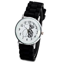 お買い得  レディース腕時計-男女兼用 ファッションウォッチ クロノグラフ付き シリコーン バンド 光沢タイプ / カトゥーン ブラック / 白 / ブルー