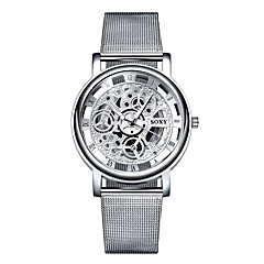 cheap Watch Deals-SOXY Men's Quartz Wrist Watch Hollow Engraving Casual Watch Stainless Steel Band Elegant Fashion White