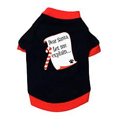 お買い得  猫の服-ネコ 犬 Tシャツ 犬用ウェア 文字&番号 ブラック/レッド コットン コスチューム ペット用 男性用 女性用 クリスマス