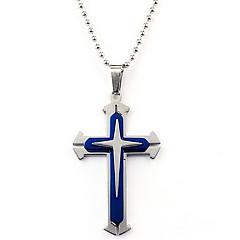 저렴한 -남성용 펜던트 십자가 스테인레스 메탈 패션 보석류 제품 일상복