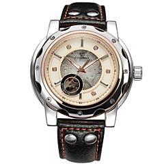 preiswerte Herrenuhren-FORSINING Herrn Mechanische Uhr Transparentes Ziffernblatt Leder Band Luxus Schwarz / Automatikaufzug