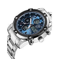 ASJ® Men's Sport Watch Japanese Quartz LCD Chronograph Water Resistant / Water Proof Dual Time Zones Stopwatch Noctilucent Stainless Steel Band Watch