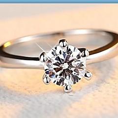 Női Karikagyűrűk Divat Klasszikus jelmez ékszerek Ezüst Cirkonium Kocka cirkónia Hamis gyémánt Hatágú Ékszerek Kompatibilitás Esküvő