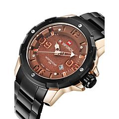 NAVIFORCE Heren Militair horloge Modieus horloge Polshorloge Kwarts Japanse quartz Kalender Waterbestendig Roestvrij staal Band Cool Zwart