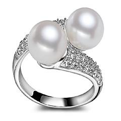 指輪,ステートメントリング,ジュエリー 真珠 / 純銀製 / ジルコン クロスオーバー / ファッショナブル / 調整可能 / 愛らしいです / スタイル 結婚式 / パーティー / 日常 / カジュアル シルバー 1個,ワンサイズ 女性