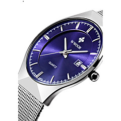 cheap Steel Band Watches-WWOOR Men's Couple's Quartz Wrist Watch Calendar / date / day Water Resistant / Water Proof Stainless Steel Band Luxury Casual Dress