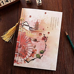 Vintage Chinese Style Hand-fringed Archaize Wire-bound Notebook(Random Colors)