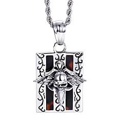 Муж. Ожерелья с подвесками Нержавеющая сталь В форме черепа Панк Серебряный Бижутерия Halloween Повседневные 1шт