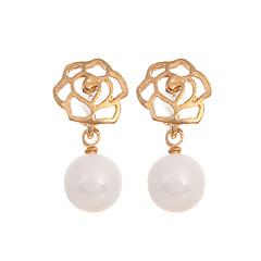 preiswerte Ohrringe-Damen Tropfen-Ohrringe - Perle, vergoldet Blume Europäisch, Modisch Gold Für Normal