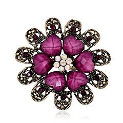 hesapli -kadın bağbozumu reçine yaprak kristal taklidi altın parti / casual için çiçek pimleri takı broşlar kaplama