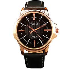 お買い得  大特価腕時計-YAZOLE 男性用 リストウォッチ クォーツ カジュアルウォッチ クール / レザー バンド ハンズ カジュアル ブラック / ブラウン - ブラック Brown
