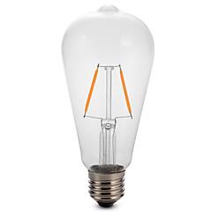 1pc 2W E27 ST64 Edison LED Filament Bulb Lamp 2200-6500K 180LM COB Light(220-240V)