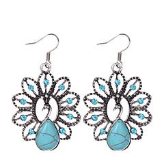 preiswerte Ohrringe-Damen Türkis - versilbert, Diamantimitate, Türkis Tier, Pfau Retro, Böhmische Blau Für Party Alltag Normal