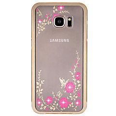 Na Samsung Galaxy S7 Edge Stras / Galwanizowane / Przezroczyste / Wzór Kılıf Etui na tył Kılıf Kwiat Twarde Metal SamsungS7 edge / S7 /