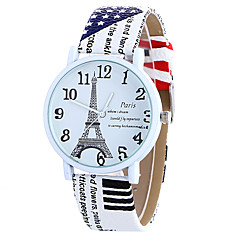 Dame Modeur Quartz Digital Månefase PU Bånd Vintage Slik Eiffeltårnet Charm Armbånd Sej Afslappet Ordur Sort HvidHvid Kaffe Brun Rød