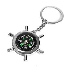 abordables Llaveros-ziqiao barco timón rueda brújula llavero novedad clave llavero anillo de la cadena de regalo de aleación de zinc