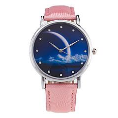 preiswerte Damenuhren-Damen Armbanduhr Mond Phase / Cool Leder Band Charme / Retro / Süßigkeit Schwarz / Weiß / Grün
