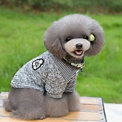 お買い得  猫の服-ネコ 犬 Tシャツ セーター 犬用ウェア 縞柄 ダークブルー グレー コットン コスチューム ペット用 男性用 女性用 保温 ファッション