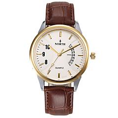 preiswerte Tolle Angebote auf Uhren-Herrn Armbanduhr Kalender / Wasserdicht Leder Band Charme Schwarz / Braun / Edelstahl / Sony S626 / Zwei jahr