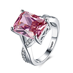 cheap Rings-Women's Sterling Silver Zircon Cubic Zirconia 18K Gold Band Ring - Personalized Vintage Hypoallergenic Fashion Pink Ring For Wedding