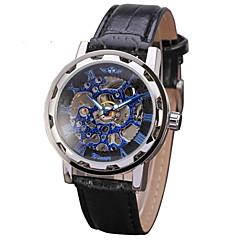 お買い得  メンズ腕時計-WINNER 男性用 スケルトン腕時計 / リストウォッチ / 機械式時計 透かし加工 / クール PU バンド ブラック / 手巻き式