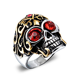 cheap Rings-Men's Statement Ring - Zircon, Titanium Steel Skull Vintage, Punk, Fashion 7 / 8 / 9 / 10 / 11 Red / Blue For Christmas Gifts Halloween Daily