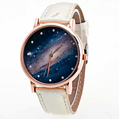 preiswerte Tolle Angebote auf Uhren-Damen Quartz Armbanduhr Mehrfarbig PU Band Retro Regenbogen Freizeit Modisch Cool Schwarz Weiß Blau Rose