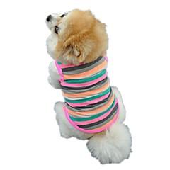お買い得  犬用ウェア&アクセサリー-ネコ 犬 Tシャツ ベスト 犬用ウェア 縞柄 虹色 コットン コスチューム ペット用 男性用 女性用 キュート カジュアル/普段着 ホリデー 誕生日 防風 ファッション スポーツ
