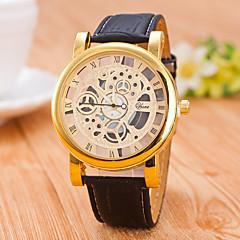 abordables Relojes Mecánicos-Hombre Cuarzo El reloj mecánico Reloj Esqueleto / Gran venta PU Banda Casual Negro Marrón