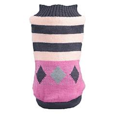 お買い得  犬用ウェア&アクセサリー-ネコ 犬 セーター 犬用ウェア 縞柄 ピンク アクリル繊維 コスチューム ペット用 男性用 女性用 カジュアル/普段着