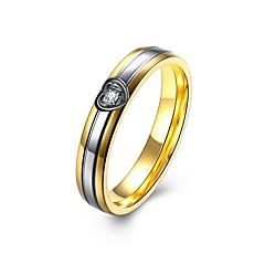 preiswerte Ringe-Damen Kubikzirkonia Ring - Edelstahl, Zirkon, Titanstahl Herz, Liebe Luxus 6 / 7 / 8 Golden Für Party / Alltag / Normal / Diamantimitate