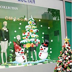 voordelige -Christmas Shop etalage witte sneeuwpop kleur van de muur stickers 50 * 70cm