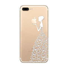 cheap -Girl Pattern  Ultra-thin Transparent Playing with Apple Logo Case Back Cover Case Soft TPU  for iPhone 7  7 plus  6s 6Plus SE 5S 5