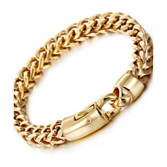 preiswerte Armbänder-Herrn Edelstahl vergoldet 18K Gold Luxus Ketten- & Glieder-Armbänder - Luxus Hip-Hop Modisch Geometrische Form Golden Armbänder Für Party