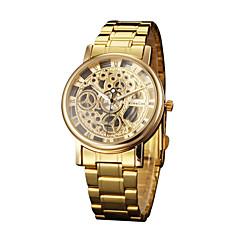 お買い得  大特価腕時計-メンズクォーツ腕時計中空彫刻ステンレススチールバンドチャームゴールド