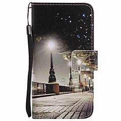 Voor samsung galaxy a5 (2016) a3 (2016) hoesje cover city scenery schilderij pu telefoon hoesje