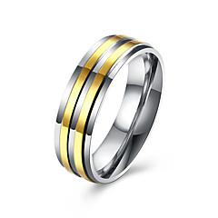 preiswerte Ringe-Herrn Bandring - Edelstahl, vergoldet Modisch 7 / 8 / 9 Golden Für Hochzeit / Party / Alltag