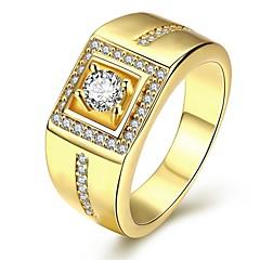 voordelige Damessieraden-Heren Ring Gepersonaliseerde Luxe Liefde Kubieke Zirkonia Koper Verzilverd Verguld Geometrische vorm Sieraden Kerstcadeaus Bruiloft Feest