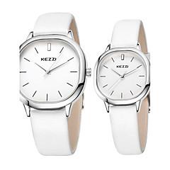 preiswerte Armbanduhren für Paare-KEZZI Paar Armbanduhr Schlussverkauf / Cool / / Leder Band Freizeit / Minimalistisch Schwarz / Weiß / Braun