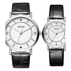 preiswerte Tolle Angebote auf Uhren-KEZZI Paar Armbanduhr Quartz Schlussverkauf Cool / Leder Band Analog Freizeit Modisch Schwarz / Weiß / Silber - Weiß Schwarz Kaffee