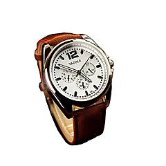 Herren Kleideruhr Modeuhr Armbanduhr Quartz / Leder Band Bequem Schwarz Braun Schwarz Braun Schwarz/Silber Weiß/Braun