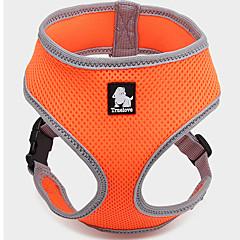 お買い得  犬用首輪/リード/ハーネス-犬 ハーネス 調整可能 / 引き込み式 高通気性 ベスト ソリッド メッシュ Brown レッド グリーン ブルー ピンク