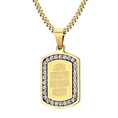 Недорогие Ожерелья-Муж. Цирконий Ожерелья с подвесками - Нержавеющая сталь, Циркон, Позолота Мода Золотой Ожерелье Бижутерия Назначение Для вечеринок, Повседневные