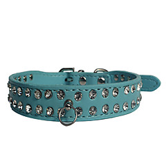Dog Collar Adjustable / Retractable Strobe/Flashing Rhinestone Rock PU Leather Black Brown Red Blue Pink