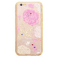 Для Стразы / Покрытие / Матовое / Полупрозрачный / С узором Кейс для Задняя крышка Кейс для Цветы Мягкий TPU для AppleiPhone 6s Plus/6