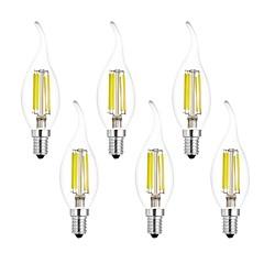 お買い得  LED 電球-6本 7W 750lm E14 フィラメントタイプLED電球 CA35 6 LEDビーズ COB 温白色 クールホワイト 220-240V